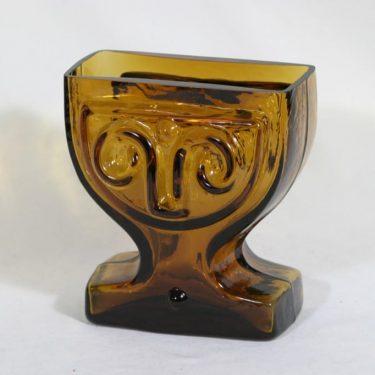 Riihimäen lasi Viktoriana maljakko, ruskea, suunnittelija Helena Tynell,
