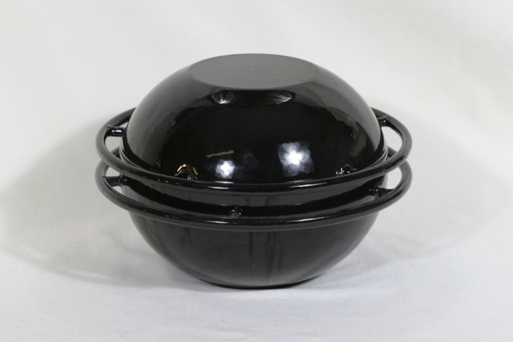Rosenlew Saturnus pot, black email, designer Timo Sarpaneva, big, ring model