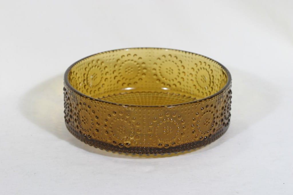 Riihimäen lasi Grapponia kulho, amber, suunnittelija Nanny Still,