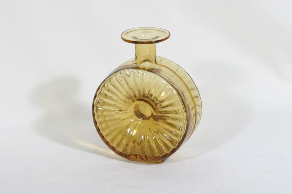 Riihimäen lasi Aurinkopullo koristepullo, amber, suunnittelija Helena Tynell, sävy XIV