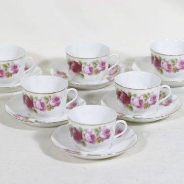 Arabia A kahvikupit, kukkakuvio, 6 kpl, suunnittelija , kukkakuvio, siirtokuva