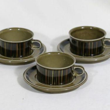 Arabia Kosmos teekupit, käsinmaalattu, 3 kpl, suunnittelija Gunvor Olin-Grönqvist, käsinmaalattu