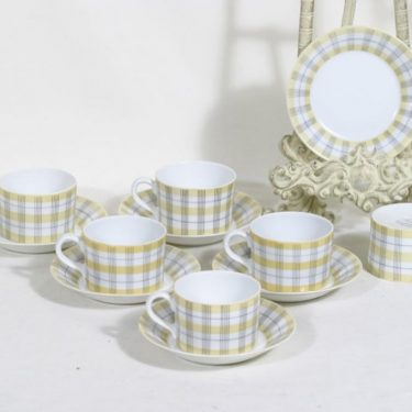 Arabia Verkko kahvikupit, ruskea, 6 kpl, suunnittelija Esteri Tomula, painettu ja maalattu viivakoriste