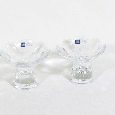 Nuutajärvi Leinikki kynttilänjalat, kirkas, 2 kpl, suunnittelija Kerttu Nurminen, pieni
