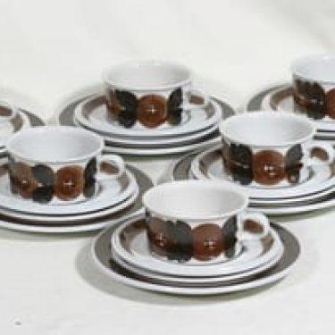 Arabia Rosmarin teekupit, käsinmaalattu, 6 kpl, suunnittelija Raija Uosikkinen, käsinmaalattu, signeerattu