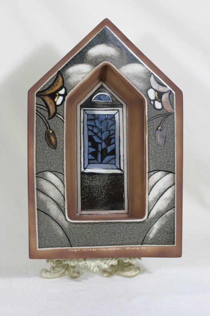 Arabia seinälampetti, Kirkon ikkuna, suunnittelija Heljä Liukko-Sundström, Kirkon ikkuna, suuri, signeerattu
