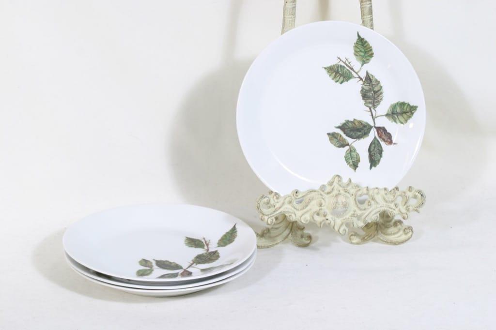 Arabia Ruusu leivoslautaset, 4 kpl, suunnittelija Anneli Qveflander, siirtokuva