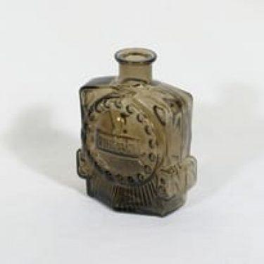 Riihimäen lasi Veturipullo koristepullo, ruskea, suunnittelija Erkkitapio Siiroinen, pieni