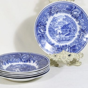 Arabia Maisema plates, blue, 6 pcs, copper ornament