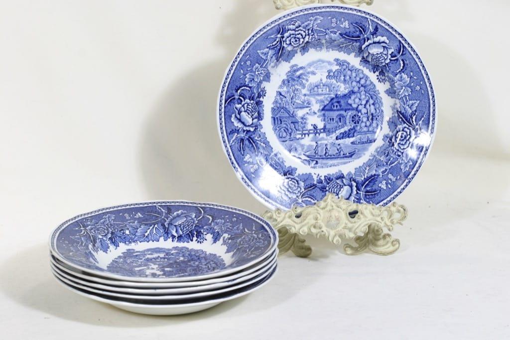 Arabia Maisema plates, blue, 6 pcs, copper ornament