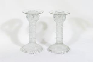 Riihimäen lasi Grapponia kynttilänjalat, kirkas, 2 kpl, suunnittelija Nanny Still,