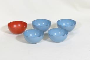 Finel kulhot, eri värejä, 5 kpl, suunnittelija Kaj Franck, pieni