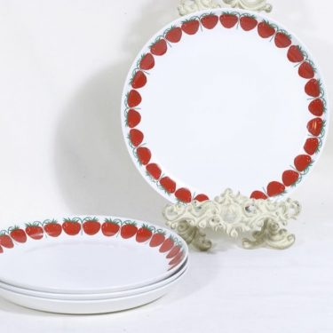 Arabia Pomona lautaset, mansikka, 4 kpl, suunnittelija Raija Uosikkinen, mansikka, serikuva
