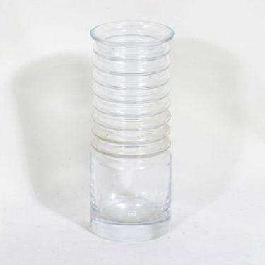 Riihimäen lasi Harmonikka maljakko, kirkas, suunnittelija Tamara Aladin,