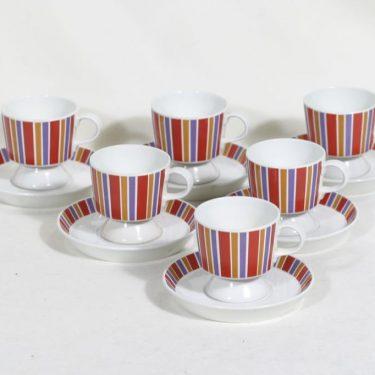 Arabia Venla kahvikupit, 12 cl, 5 kpl, suunnittelija Raija Uosikkinen, 12 cl, raitakoriste, serikuva