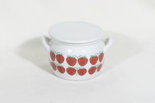 Arabia Pomona ruukku, mansikka, suunnittelija Raija Uosikkinen, mansikka, pieni