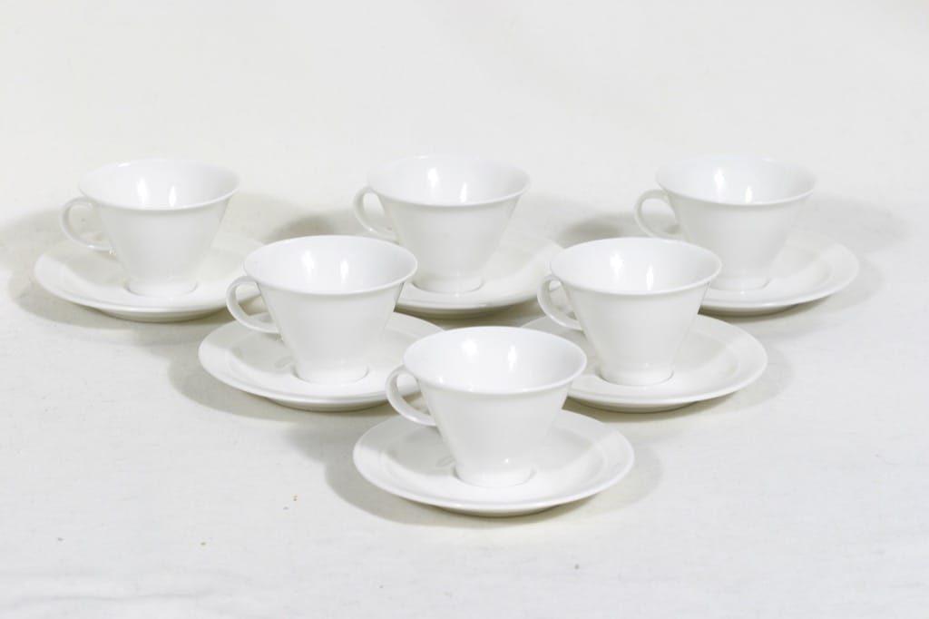 Arabia Harlekin mocka cups, white 6 pcs, designer Inkeri Leivo