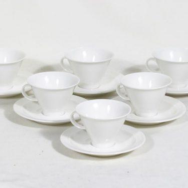 Arabia Harlekin mokkakupit, valkoinen, 6 kpl, suunnittelija Inkeri Leivo,