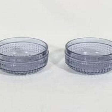 Riihimäen lasi Barokki annosmaljat, siniharmaa, 2 kpl, suunnittelija Erkkitapio Siiroinen,