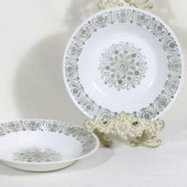 Arabia Sampo lautaset, syvä, 2 kpl, suunnittelija Raija Uosikkinen, syvä, kuparipainokoriste