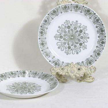 Arabia Sampo lautaset, matala, 2 kpl, suunnittelija Raija Uosikkinen, matala, kuparipainokoriste