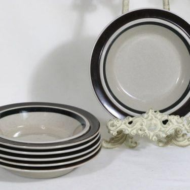 Arabia Ruija lautaset, syvä, 6 kpl, suunnittelija Raija Uosikkinen, syvä, käsinmaalattu