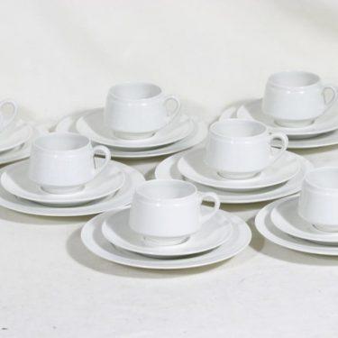 Arabia Pitsi kahvikupit ja lautaset, valkoinen, 7 kpl, suunnittelija Raija Uosikkinen,