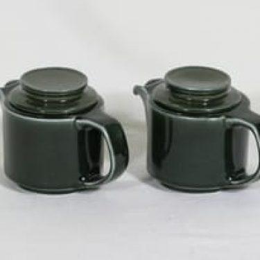 Arabia GB teekannut, vihreä, 2 kpl, suunnittelija , pieni, koristelematon