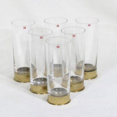 Iittala Caliber lasit, 40 cl, 6 kpl, suunnittelija Valto Kokko, 40 cl, messinkihylsy