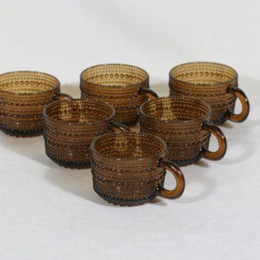 Nuutajärvi Kastehelmi kahvikupit, ruskea, 6 kpl, suunnittelija Oiva Toikka,