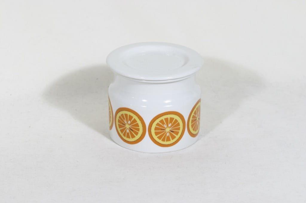 Arabia Pomona purnukka, appelsiini, suunnittelija Raija Uosikkinen, appelsiini, serikuva