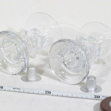 Riihimäen lasi Kasper kynttilänjalat, signeerattu, 2 kpl, suunnittelija Erkkitapio Siiroinen, signeerattu, pieni kuva 2