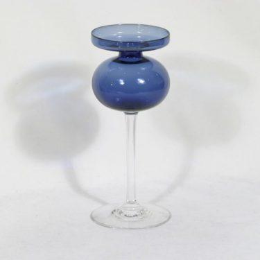 Iittala 2660 kynttilänjalka, sininen|kirkas, suunnittelija Erkki Vesanto,