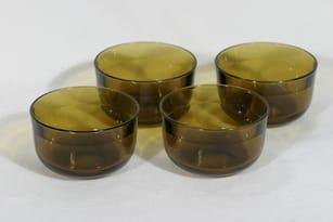 Nuutajärvi Fasetti annosmaljat, ruskea, 4 kpl, suunnittelija Kaj Franck,