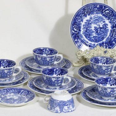 Arabia maisema kahvikupit ja lautaset, sininen, 6 kpl, suunnittelija , kuparipainokoriste