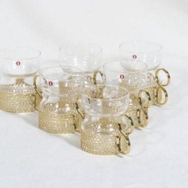 Iittala Tsaikka teekupit, kirkas, 6 kpl, suunnittelija Timo Sarpaneva,