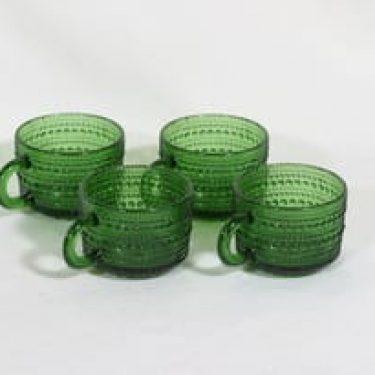 Nuutajärvi Kastehelmi kahvikupit, vihreä, 4 kpl, suunnittelija Oiva Toikka,