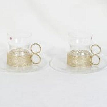 Iittala Tsaikka teekupit ja lautaset, kirkas, 2 kpl, suunnittelija Timo Sarpaneva,