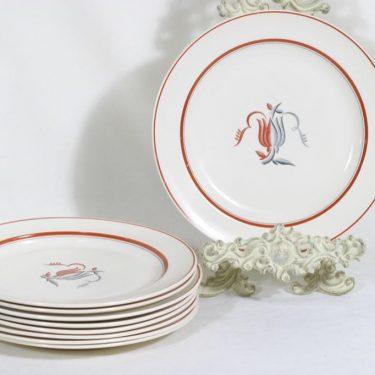 Arabia Oiva lautaset, matala, 9 kpl, suunnittelija Greta-Lisa Snellman-Jäderholm, matala, siirtokuva, art deco