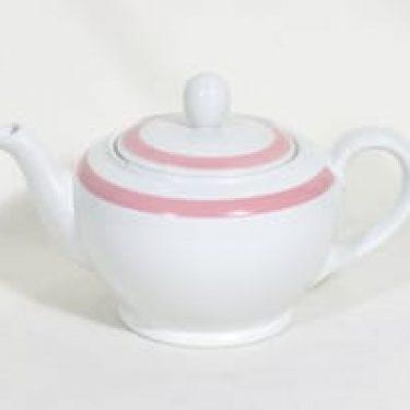 Arabia Punavalko teekannu, 1 l, suunnittelija Greta-Lisa Snellman-Jäderholm, 1 l, raitakoriste