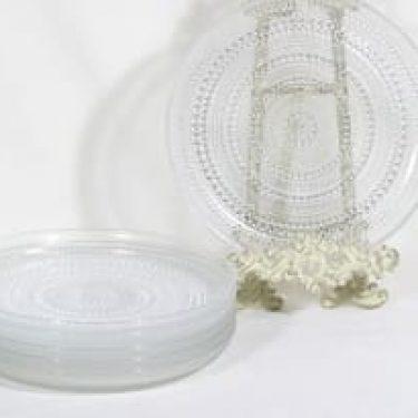 Nuutajärvi Kastehelmi lautaset, kirkas, 6 kpl, suunnittelija Oiva Toikka,