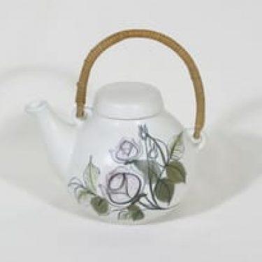Arabia Kukka teepannu, käsinmaalattu, suunnittelija Hilkka-Liisa Ahola, käsinmaalattu, pieni, signeerattu