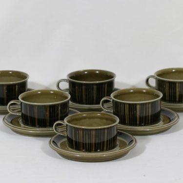 Arabia Kosmos teekupit, 27 cl, 6 kpl, suunnittelija Gunvor Olin-Grönqvist, 27 cl, käsinmaalattu