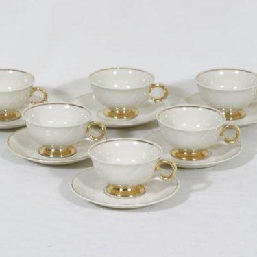 Arabia Kultakoriste mokkakupit, kermanvalkoinen, 6 kpl, suunnittelija Svea Granlund,