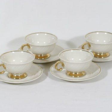 Arabia Kultakoriste mokkakupit, kermanvalkoinen, 4 kpl, suunnittelija Svea Granlund,