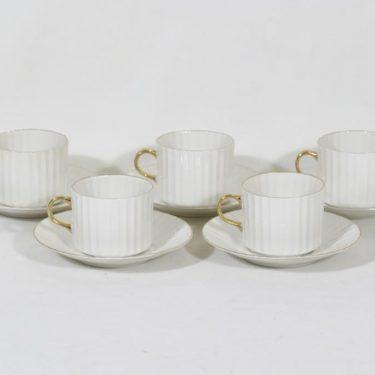 Arabia Kultakorva kahvikupit, valkoinen, 5 kpl, suunnittelija Kaj Franck, kultakoriste