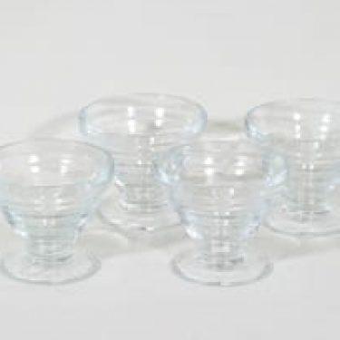 Riihimäen lasi annosmaljat, kirkas, 4 kpl, suunnittelija Aino Aalto,