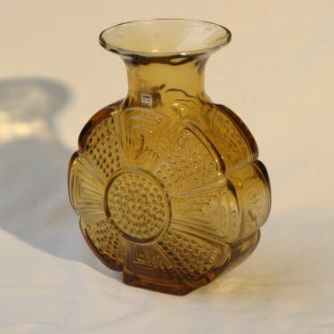 Riihimäen lasi Amuletti maljakko, hunajanruskea, suunnittelija Tamara Aladin,