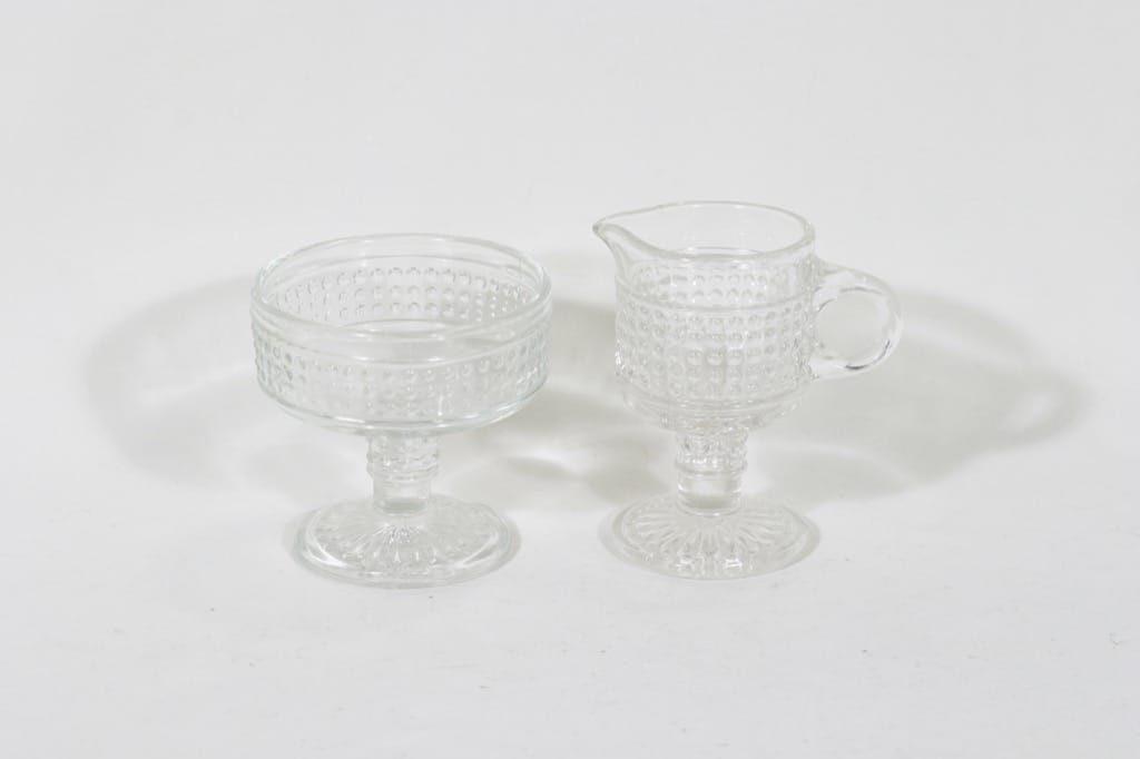 Riihimäen lasi Barokki sokerikko ja kermakko, kirkas, suunnittelija Erkkitapio Siiroinen,