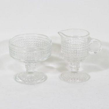 Riihimäen lasi Barokki sugar bowl and creamer, clear, Erkkitapio Siiroinen